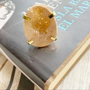 CHUNKY DRUZZY AGATHA GOLD STATEMENT RING